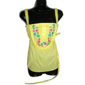 Tops - retro boho yellow floral shirt size extra small xs